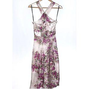 NEW BEBE Floral Silk Blossom Twist Halter Dress